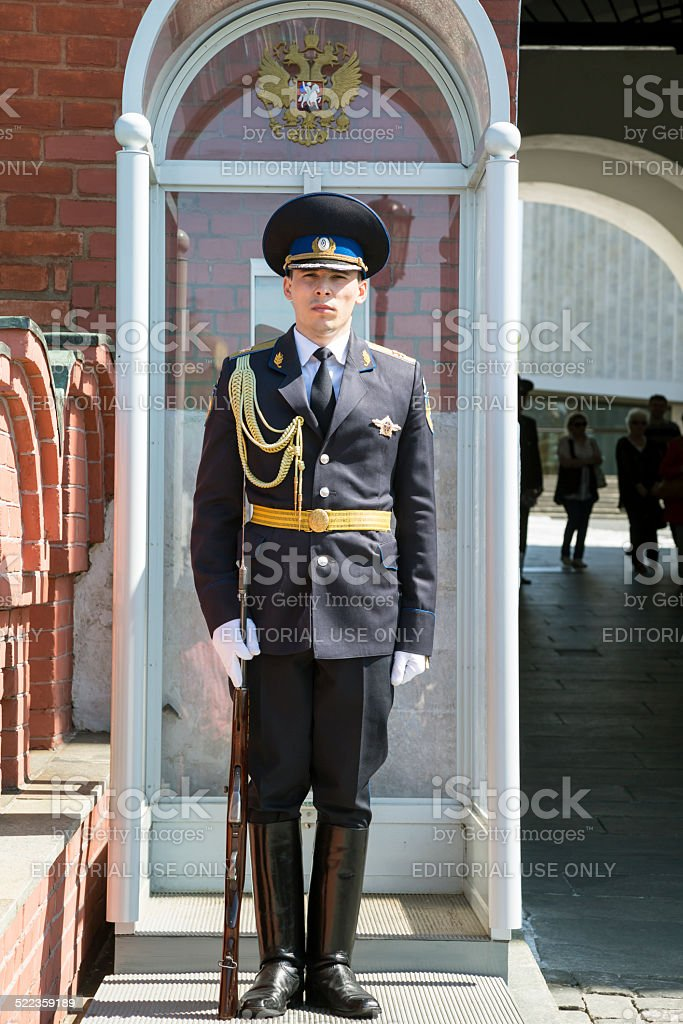 Russian soldier stands guard, Moscow, Russia stock photo