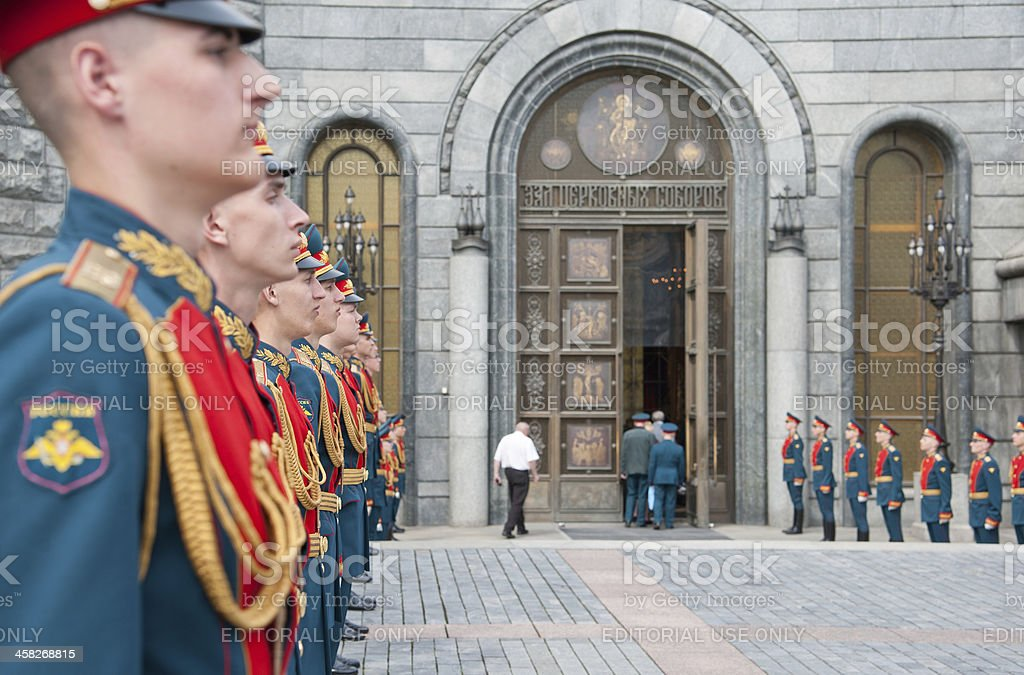 Russian Soldiers at Attention royalty-free stock photo