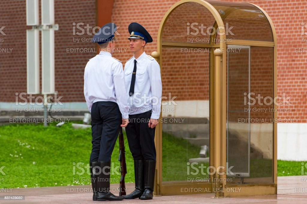 Russian soldiers at the Kremlin Wall and Eternal flame in Moscow stock photo