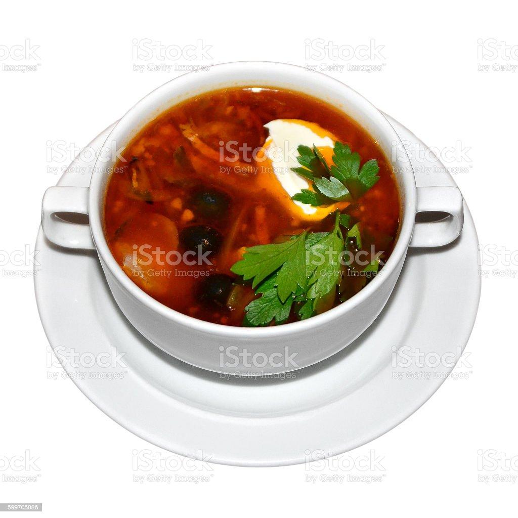 Russian soup Solyanka stock photo