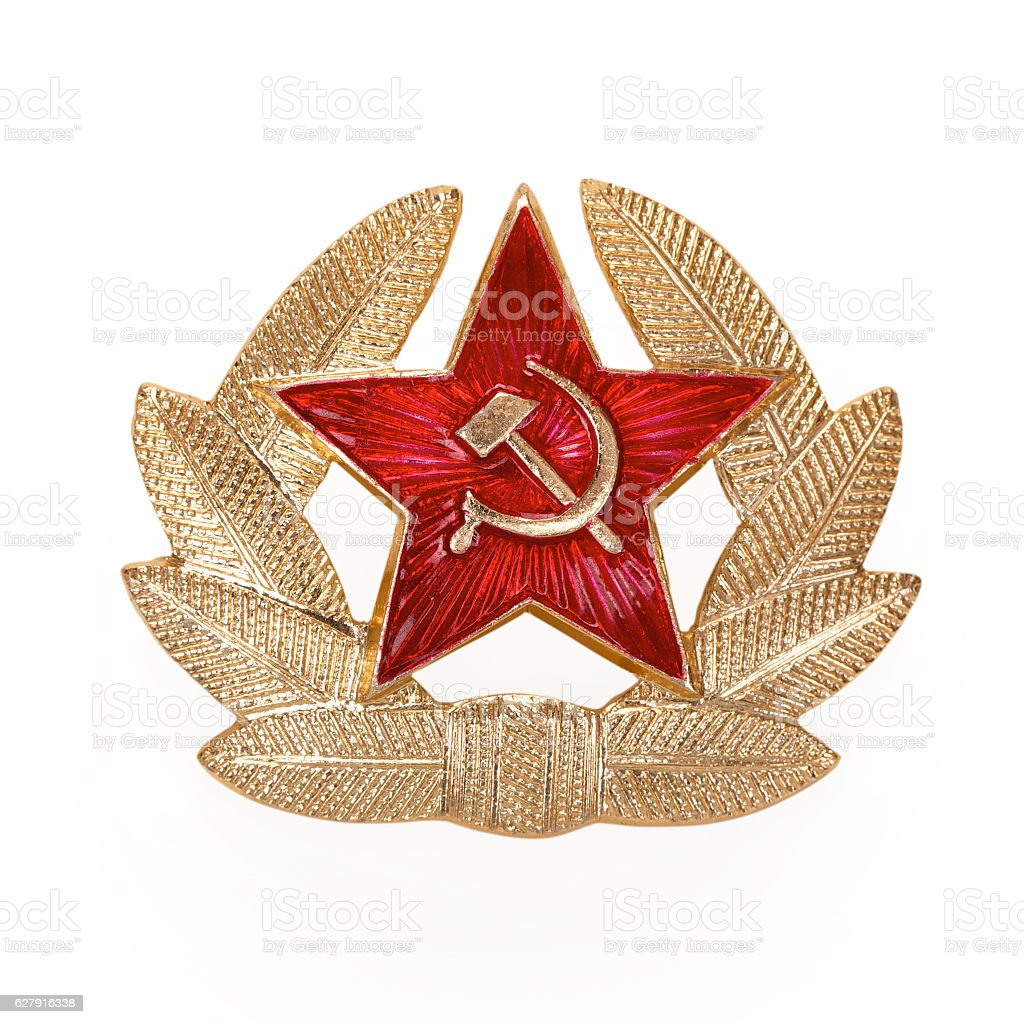 Russian Soviet red star badge, contains clipping path. stock photo