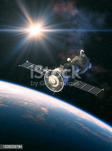 Spacecraft In The Rays Of Light. 3D Illustration. NASA Images Not Used.