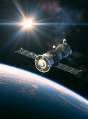 istock Russian Spacecraft In The Rays Of Light 1029203794