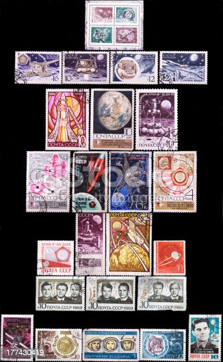 Russian stamps collection Cosmos on isolated dark background