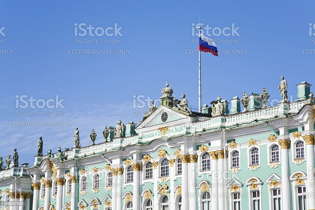 Russian state flag on Winter Palace, St.Petersburg stock photo