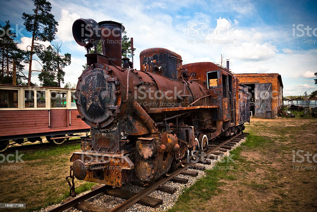 Russian steam engine locomotive royalty-free stock photo