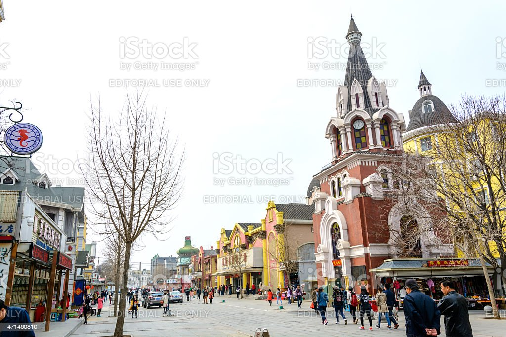 Russian street and architecture stock photo
