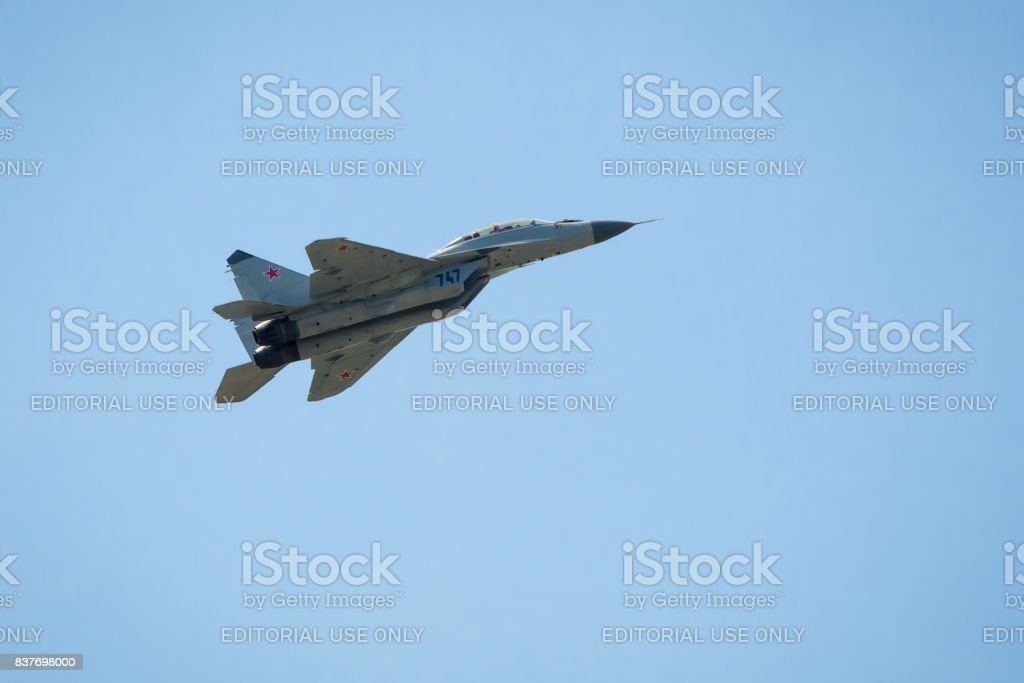 Russian strike fighter MIG-29 at MAKS-2017 stock photo