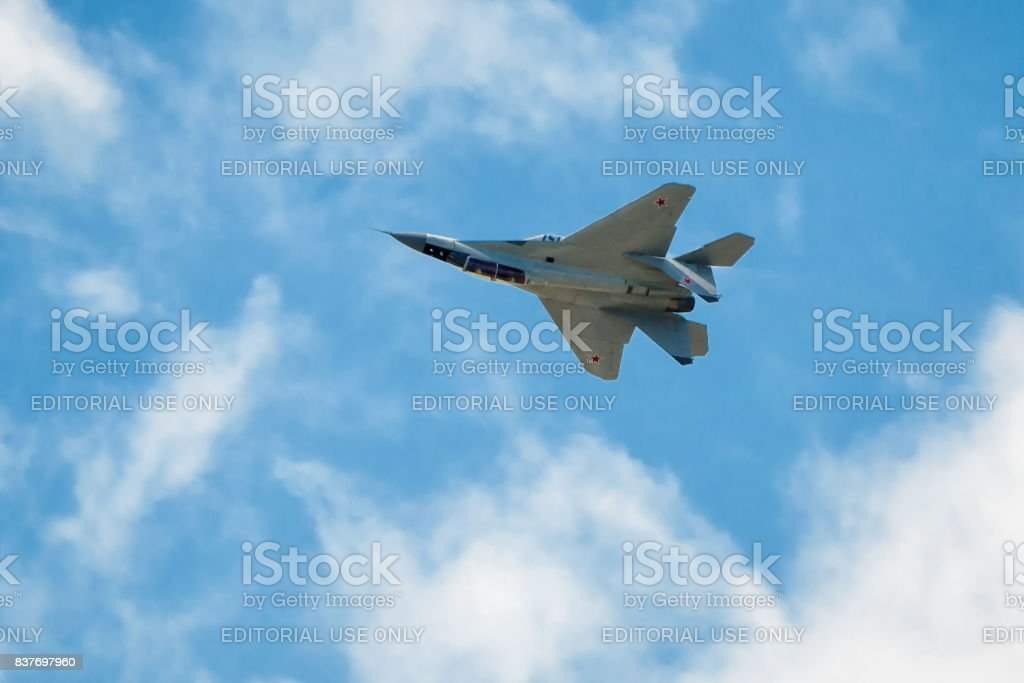 Russian strike fighter MIG-29 flies upside down stock photo