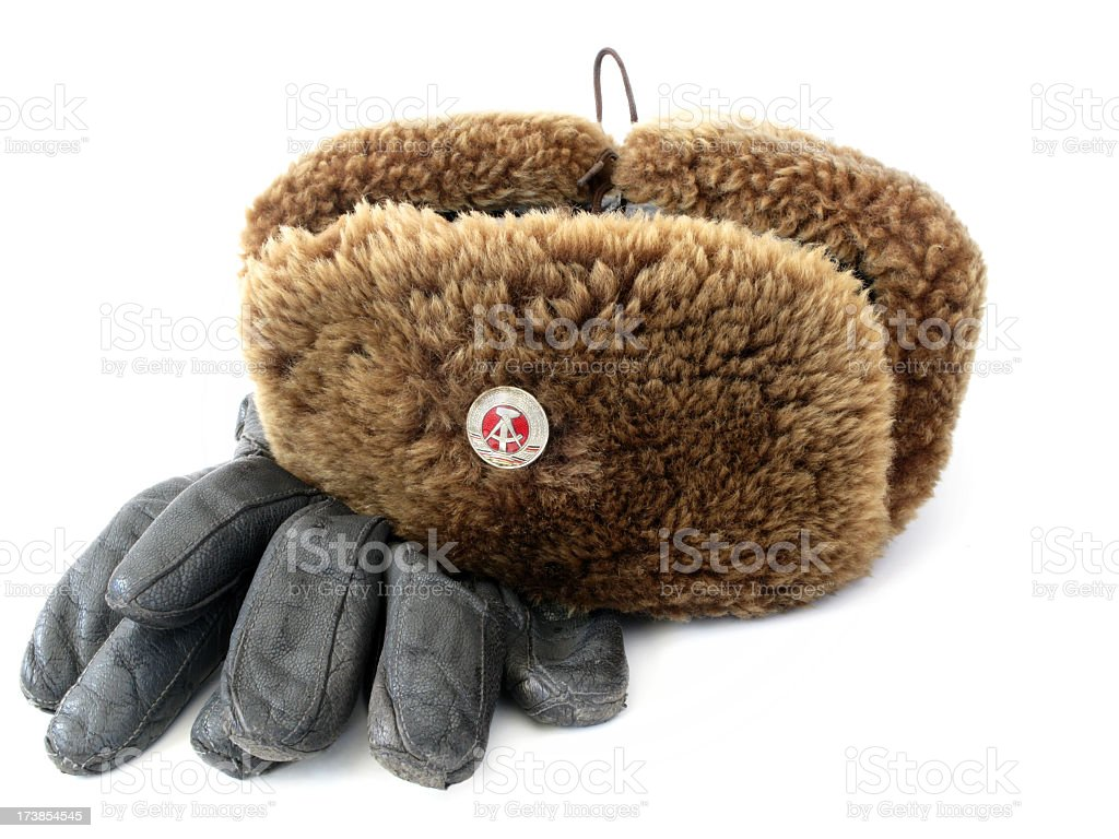 Russian style hat and gloves. royalty-free stock photo