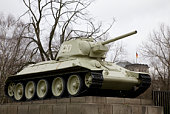 Russian tank T-34 - piece of the monument of soviet soldiers - Berlin, Germany