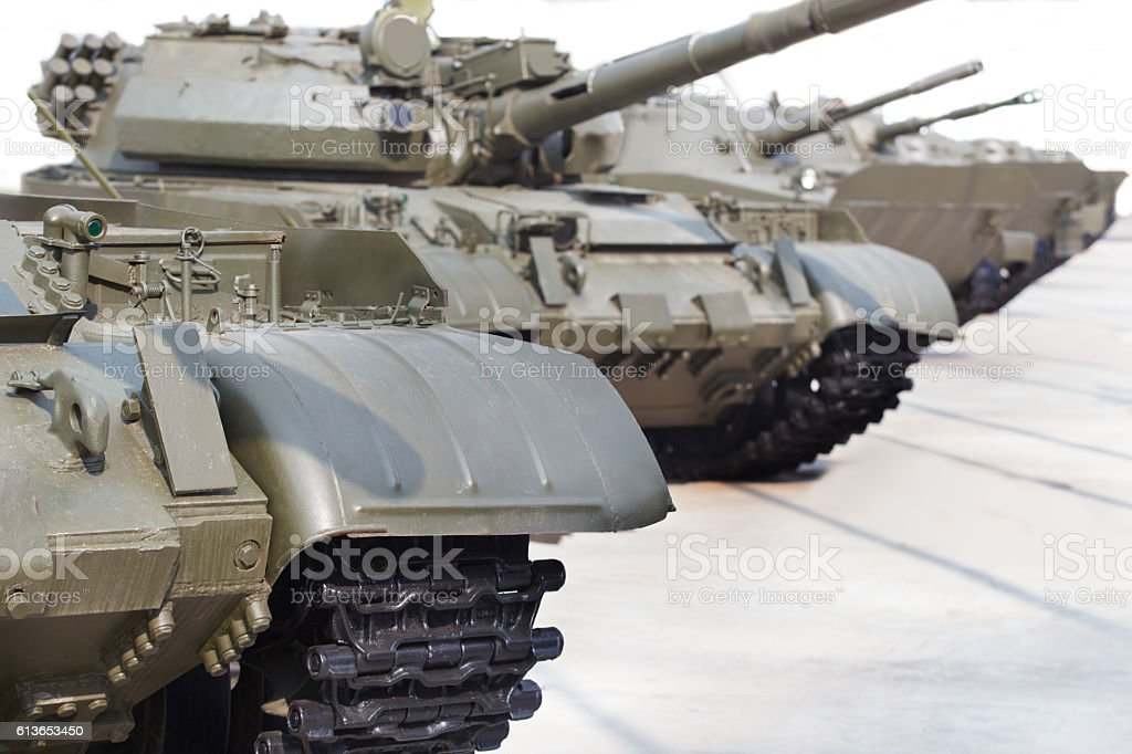 Russian tanks  in row outside stock photo