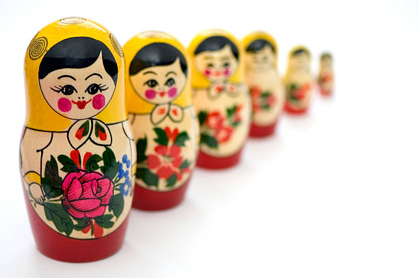 Russian Toys in line stock photo