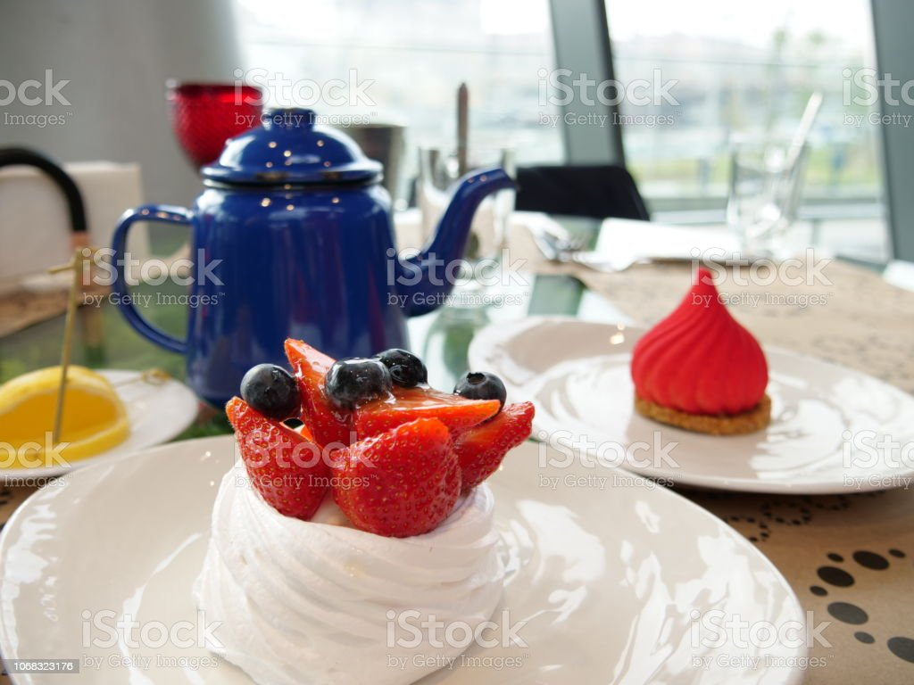 russian tradition tea bord with a cake stock photo