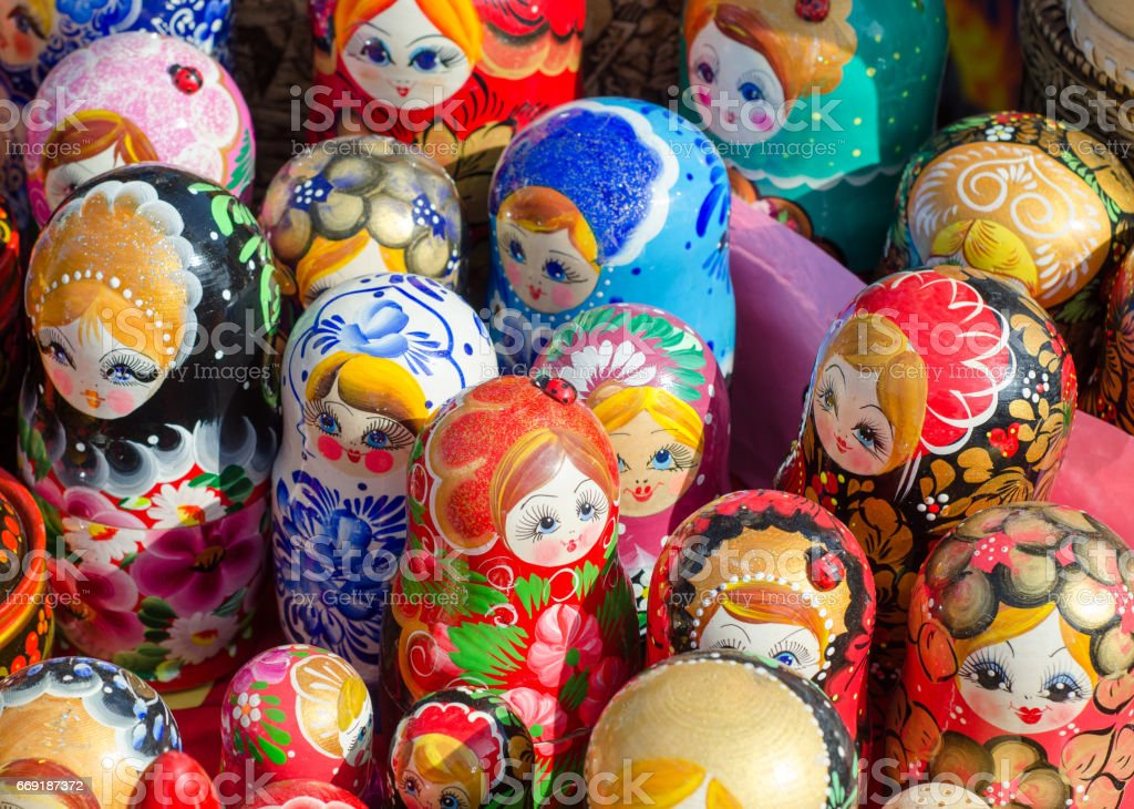 Russian traditional doll souvenirs at the fair stock photo