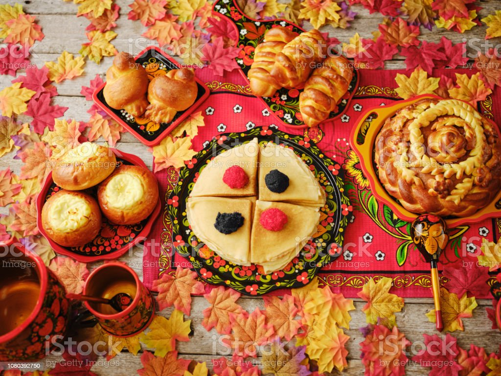 Russian Traditional Holiday Bread on a Table - Top Down View stock photo