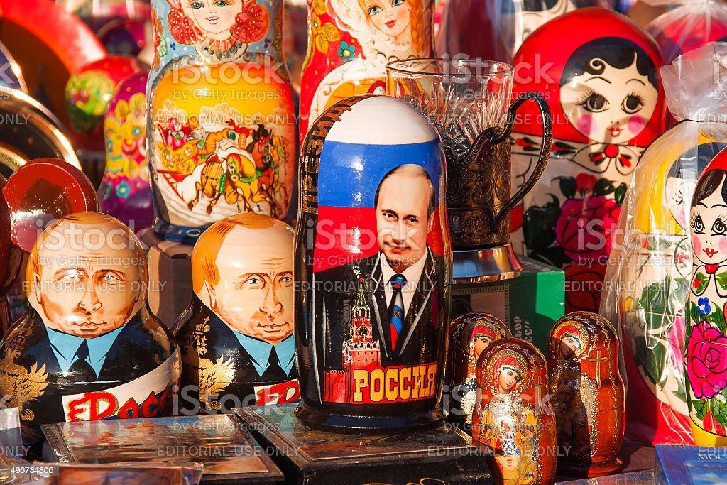 """Russische traditionelle ineinander geschachtelte Matroschka-Puppen """""""" mit Porträt von Putin V.V. - Lizenzfrei 2015 Stock-Foto"""