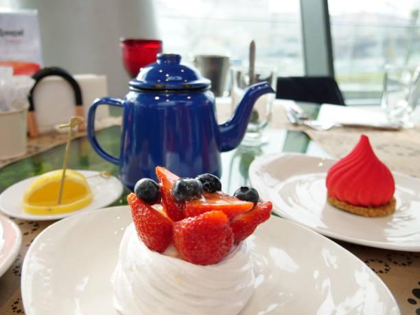 Russian traditional tea dessert berry cake, Pavlova stock photo