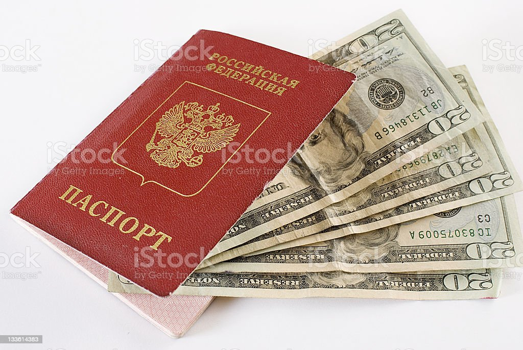 Russian Traveling Passport and money. royalty-free stock photo