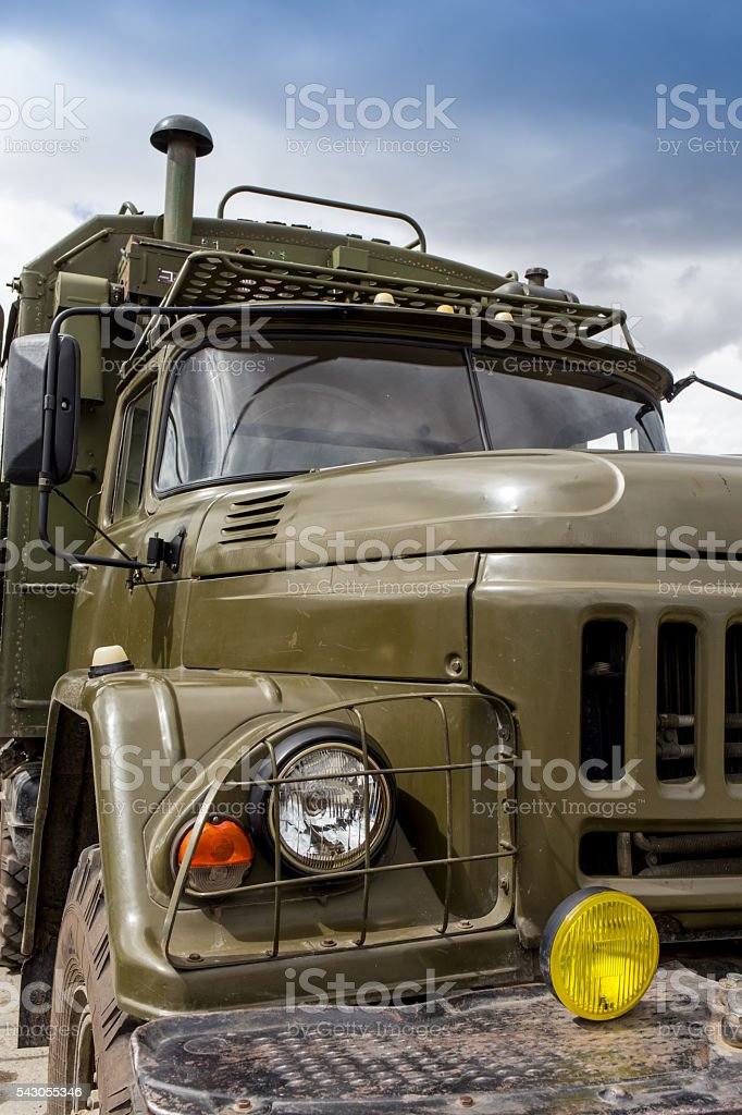 Russian truck Ural crossing a small river stock photo