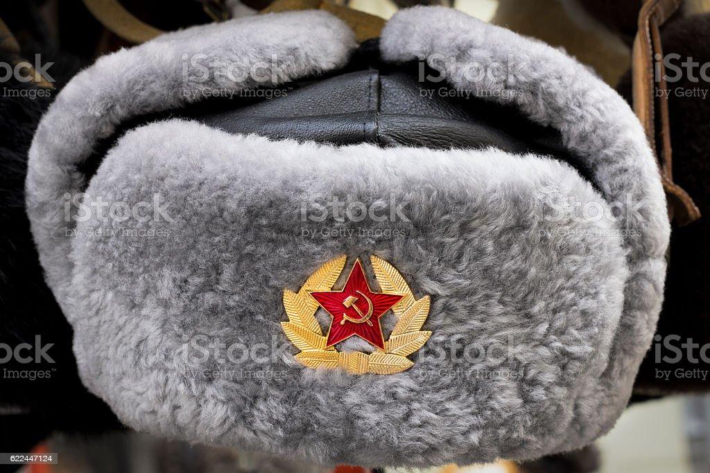 Russian USSR winter fur hat stock photo