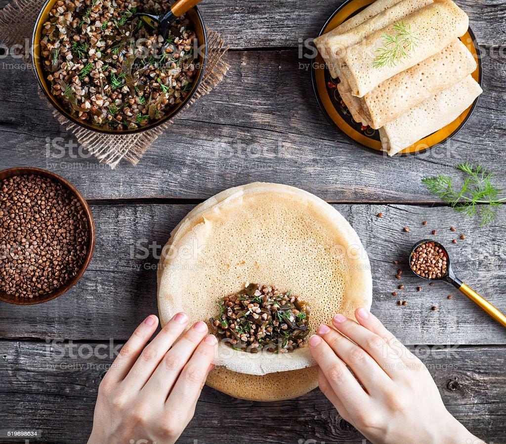 Russian vegan pancakes on Shrovetide holidays stock photo