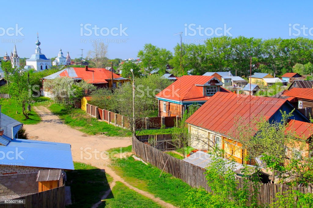 Russian Village old town landscape - Monastery and churches – Ancient Suzdal typical idyllic russian village, cityscape panorama, Vladimir oblast, Golden Ring, Russia stock photo
