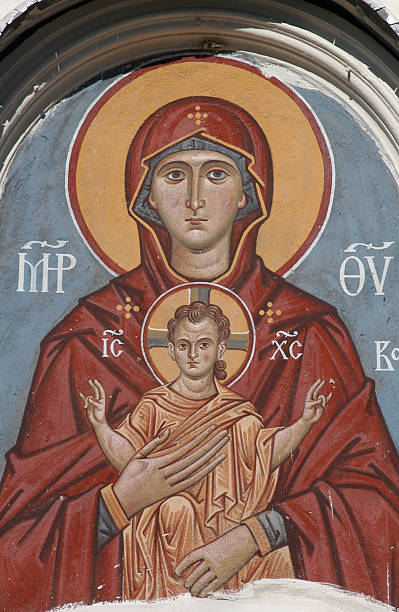 Russian Virgin and Child stock photo