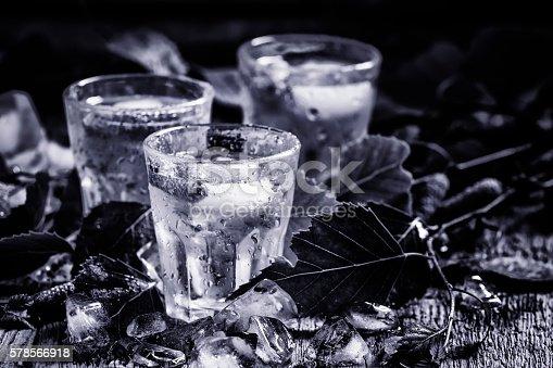 578566044 istock photo Russian vodka, black-and-white 578566918