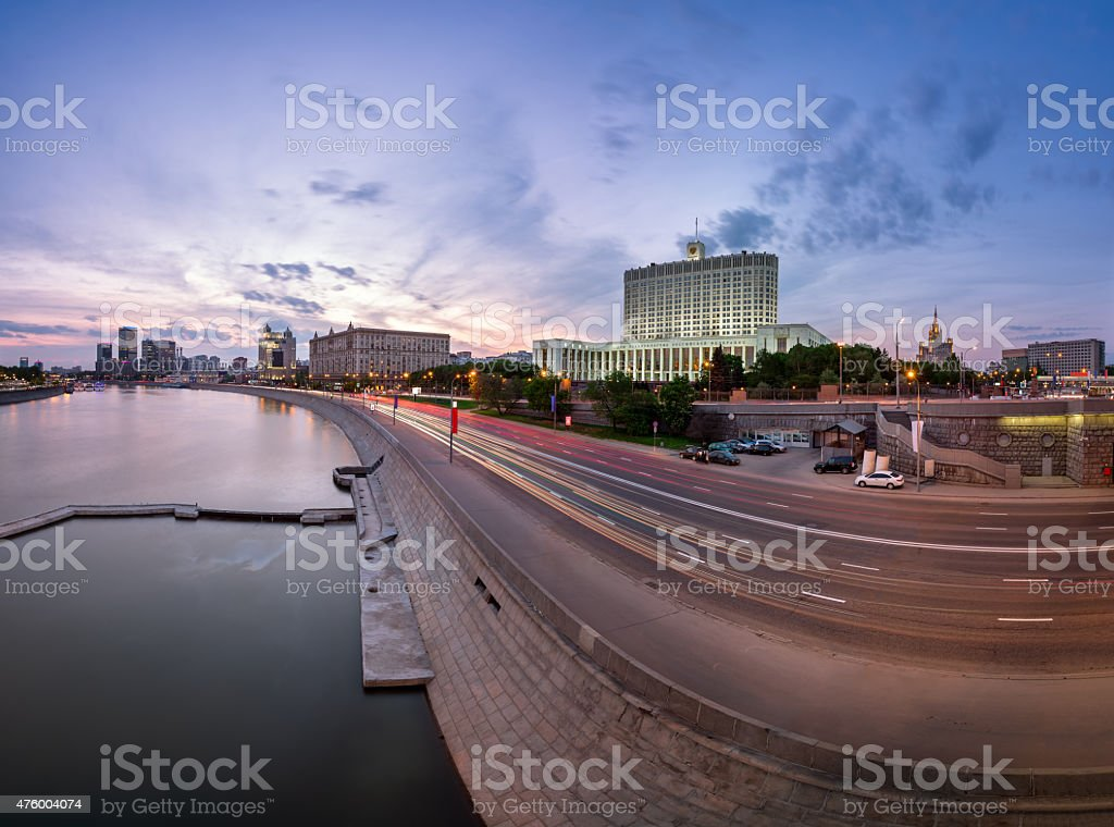 Russian White House and Krasnopresnenskaya Embankment stock photo