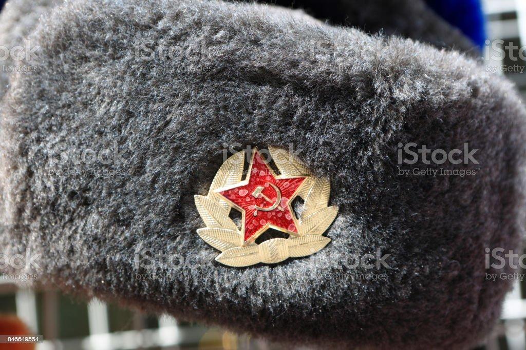 Russian winter hat stock photo