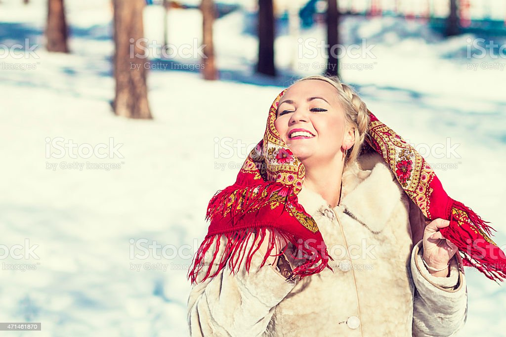 Russian woman dancing stock photo