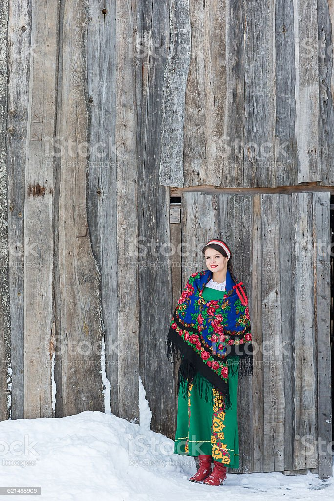 Russian woman in a traditional dress foto stock royalty-free