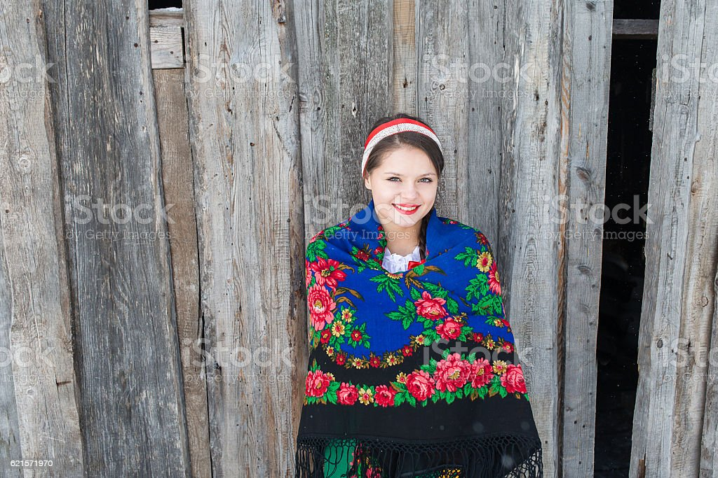 Russian woman in a traditional dress photo libre de droits