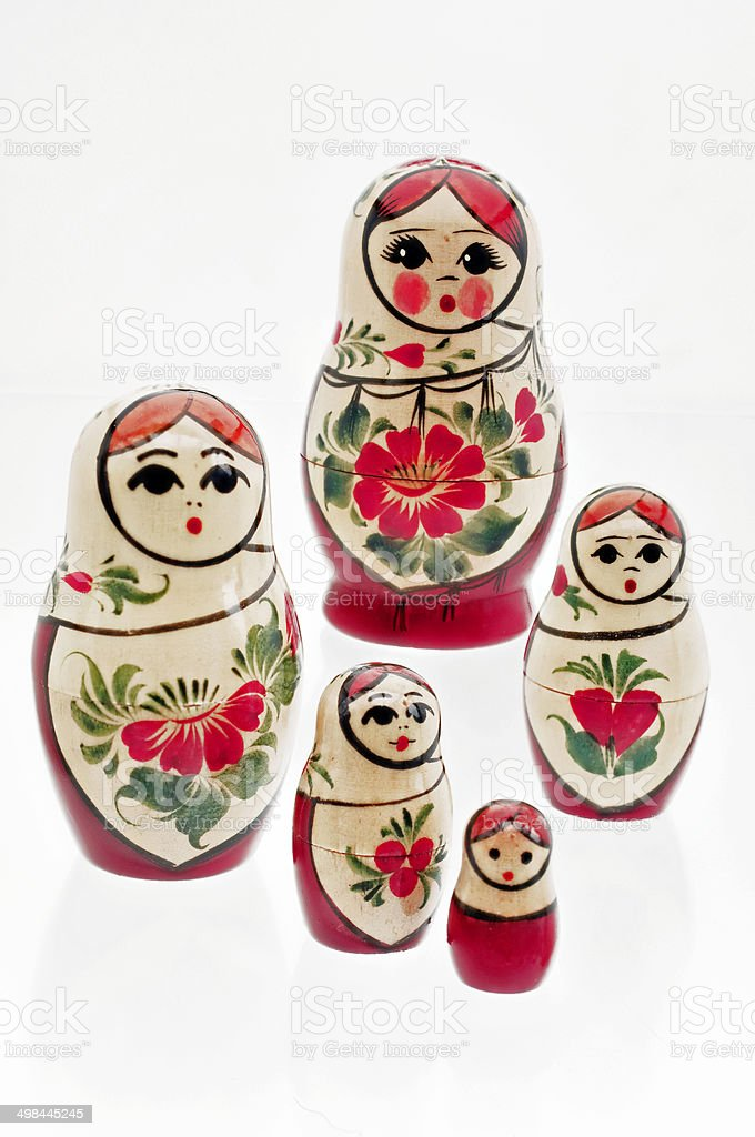 Russian wooden dolls stock photo
