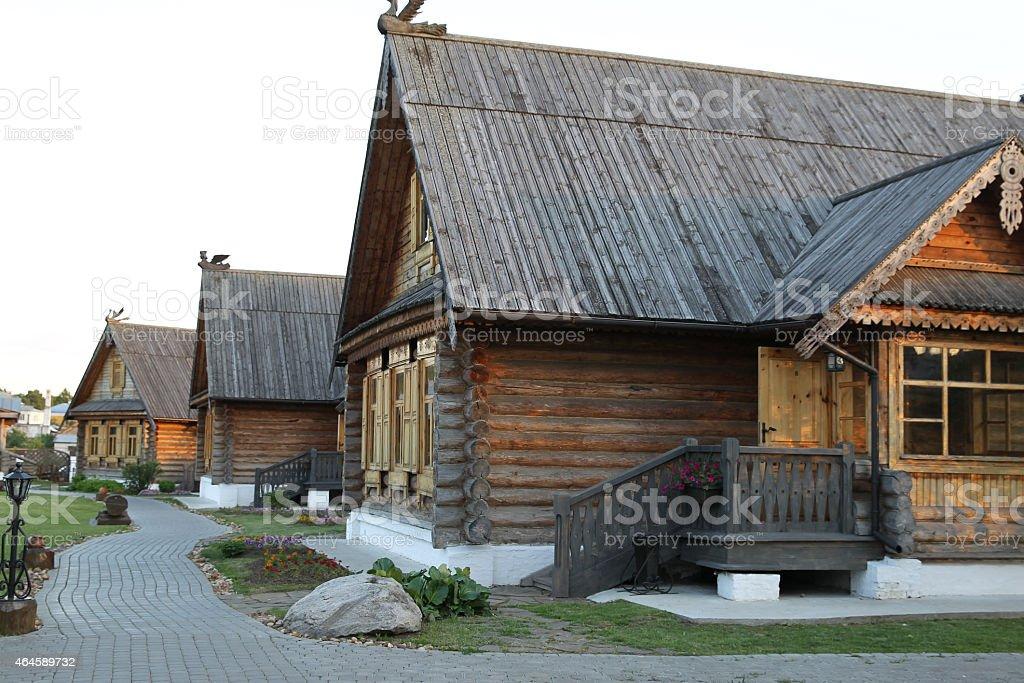 Russian wooden hut stock photo