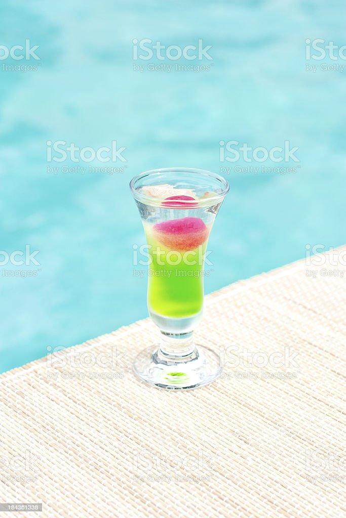 Russian-Japanese War popular shot cocktail near waterpool on  mat royalty-free stock photo