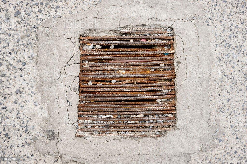 Rust drain. stock photo