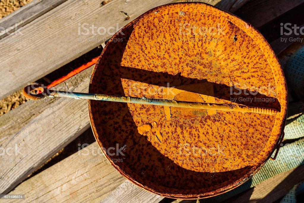 Rust on bucket Lizenzfreies stock-foto