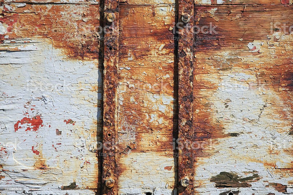 Rust On Old White Wood Panel Background royalty-free stock photo