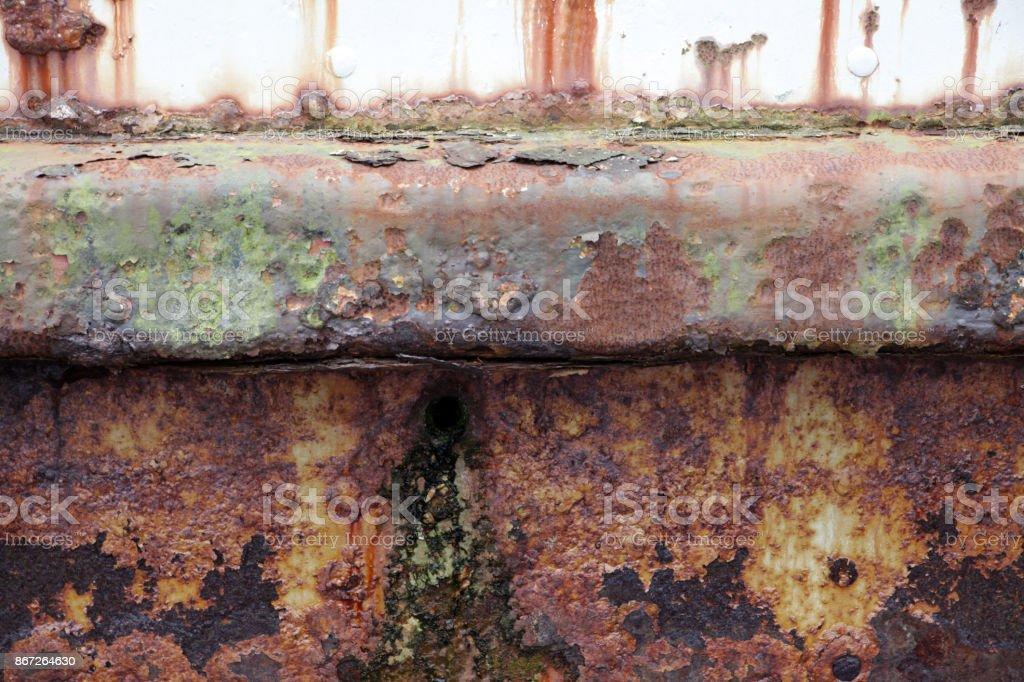 Rust on ship hull stock photo