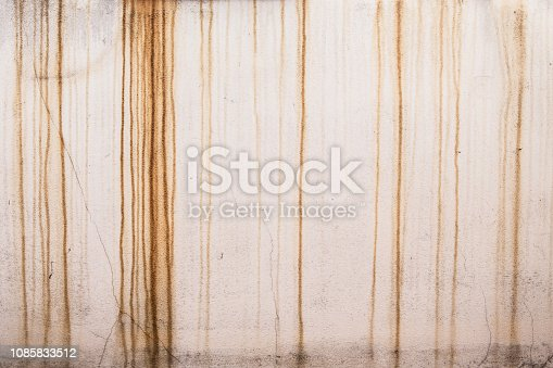 Rust stains on white walls texture background