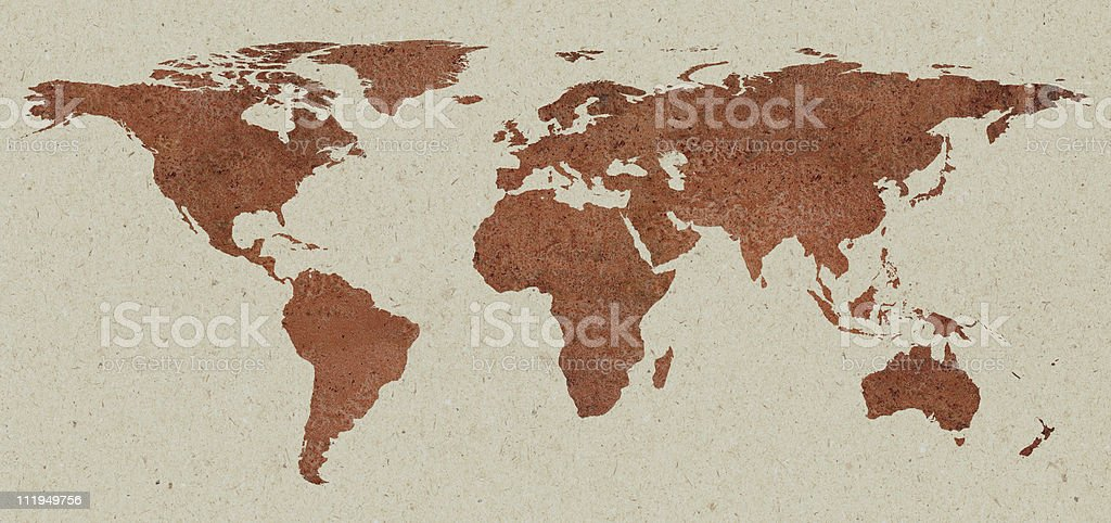 Rust world map on cardboard background royalty-free stock photo