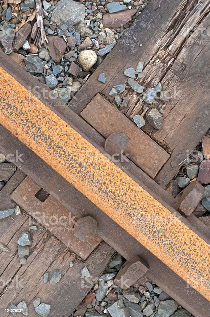 Rusted and disused railroad track stock photo