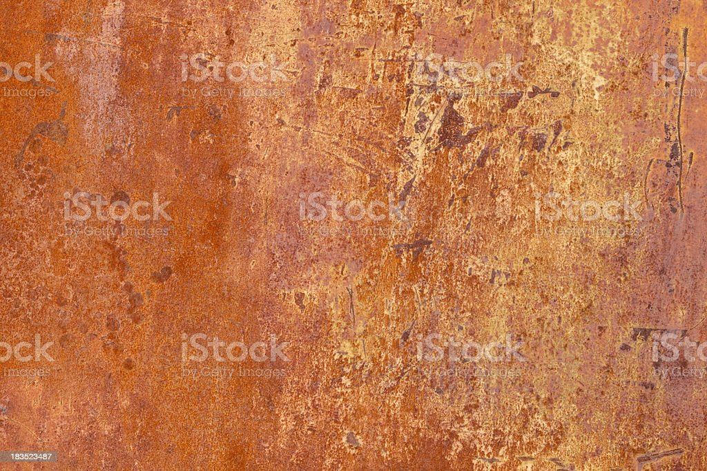 Rusted and Scarred Old Orange Colored Automobile Door for Background royalty-free stock photo