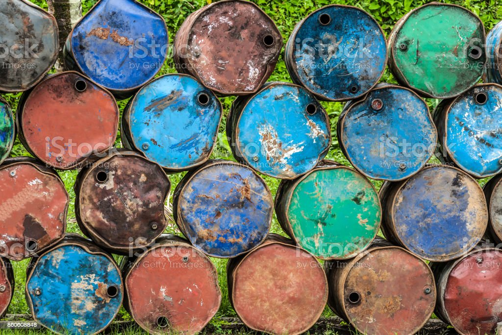 Rusted barrels stock photo