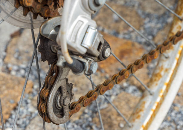 rusted bicycle chain, gears stock photo