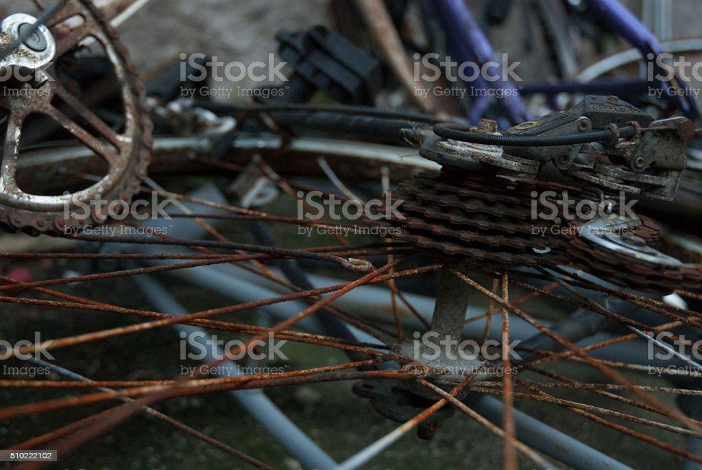 Rusted bikes stock photo