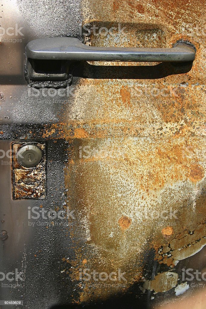 Rusted Burnt Truck Door royalty-free stock photo