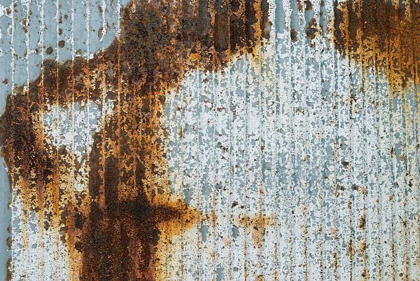 Rusted corrugated metal - horizontal stock photo